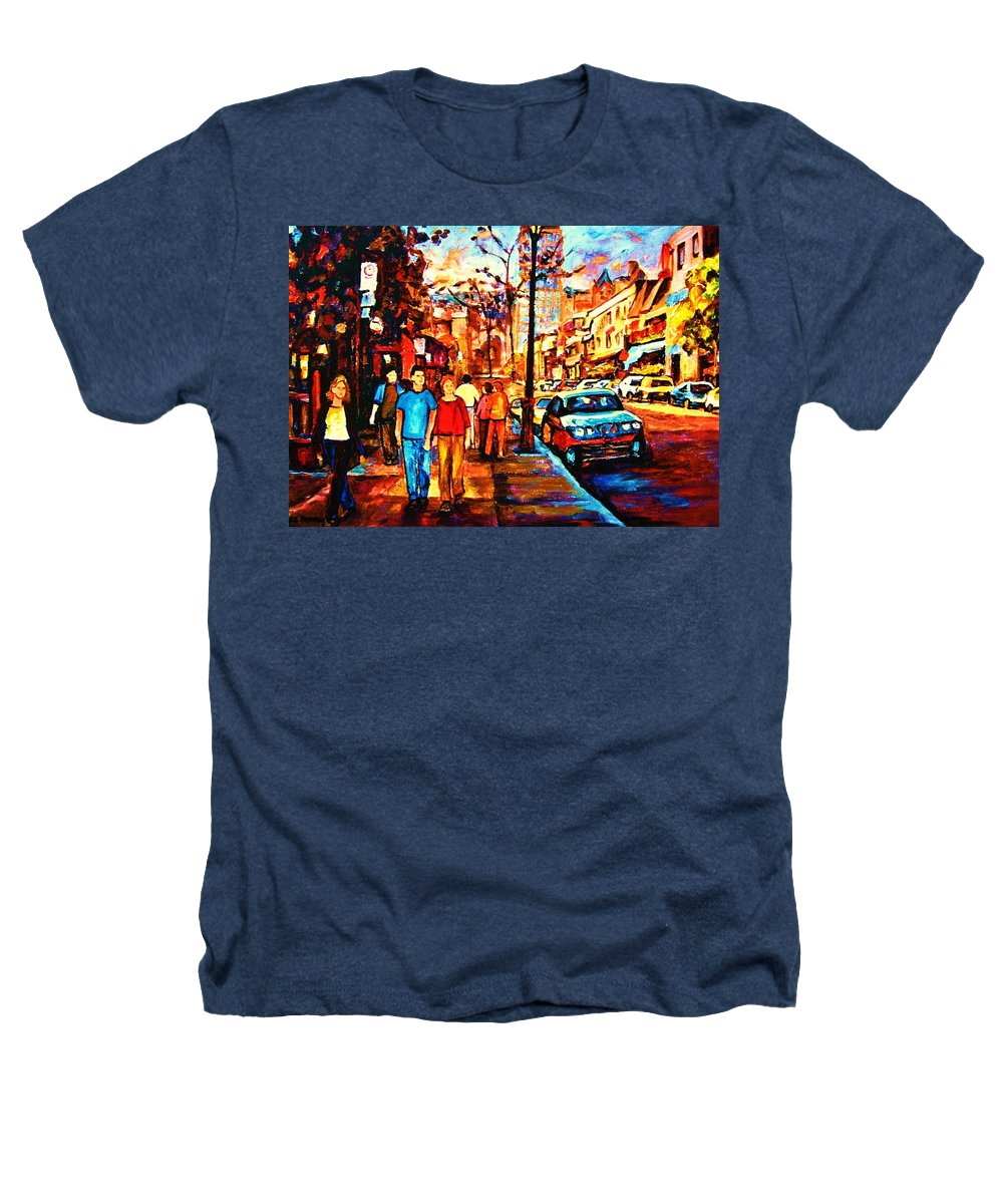 Montrealstreetscene Heathers T-Shirt featuring the painting Under A Crescent Moon by Carole Spandau