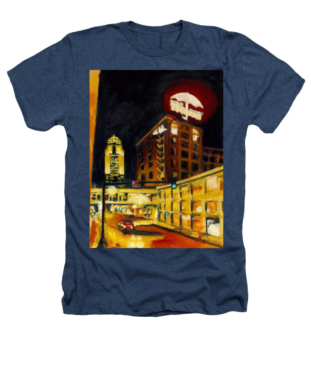 Rob Reeves Heathers T-Shirt featuring the painting Untitled In Red And Gold by Robert Reeves