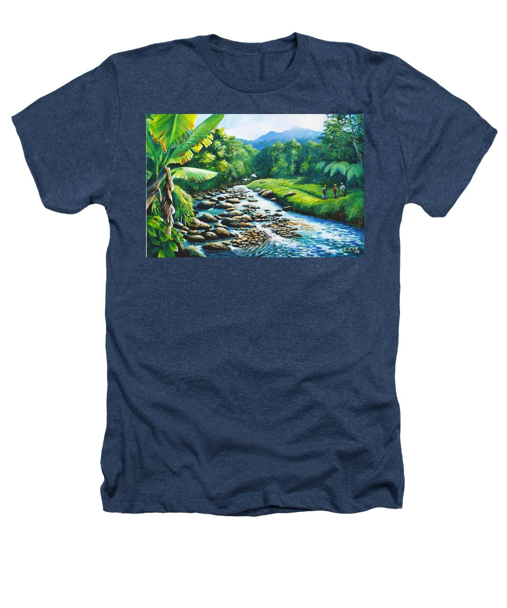 Chris Cox Heathers T-Shirt featuring the painting Upriver by Christopher Cox