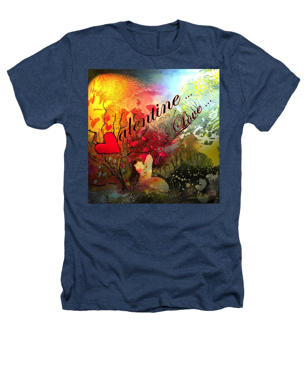 Valentine Heathers T-Shirt featuring the painting Valentine by Miki De Goodaboom