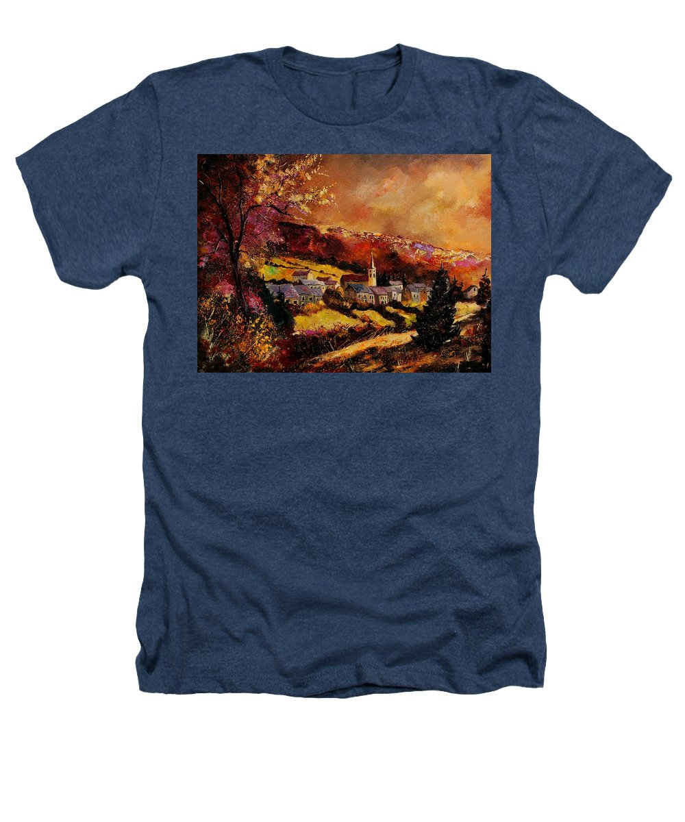 River Heathers T-Shirt featuring the painting Vencimont Village Ardennes by Pol Ledent