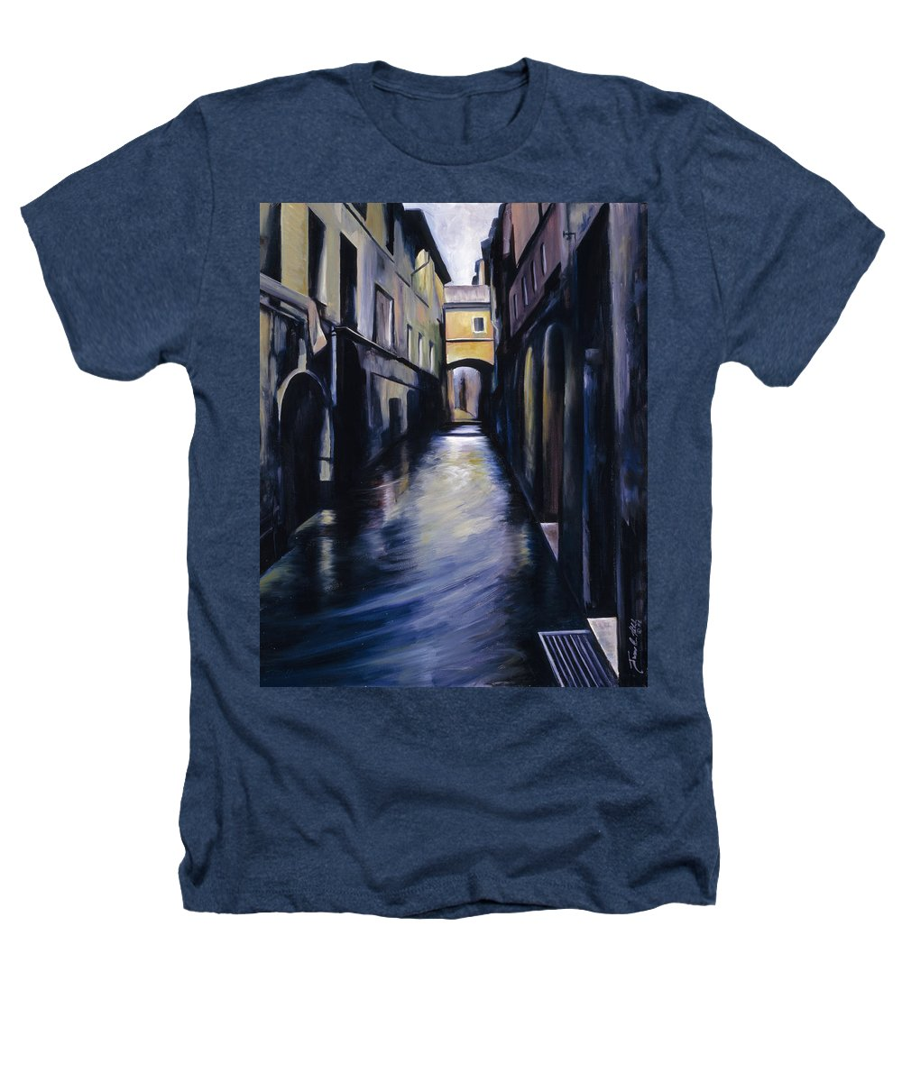 Street; Canal; Venice ; Desert; Abandoned; Delapidated; Lost; Highway; Route 66; Road; Vacancy; Run-down; Building; Old Signage; Nastalgia; Vintage; James Christopher Hill; Jameshillgallery.com; Foliage; Sky; Realism; Oils Heathers T-Shirt featuring the painting Venice by James Christopher Hill