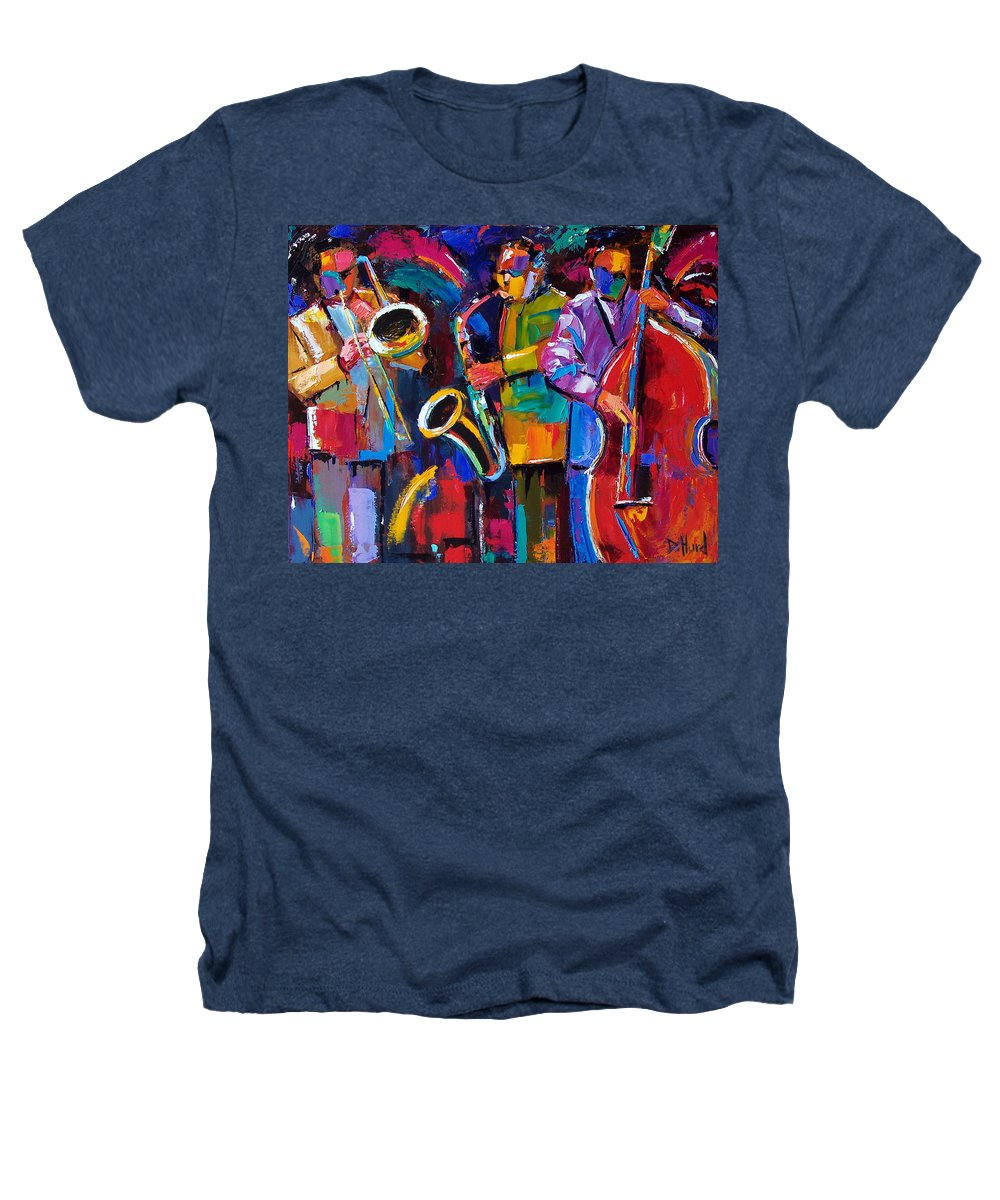 Jazz Heathers T-Shirt featuring the painting Vibrant Jazz by Debra Hurd