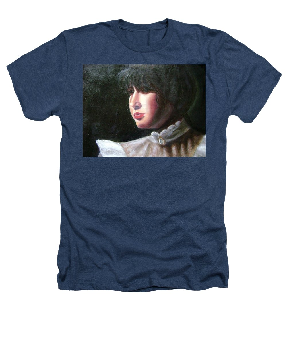 Girl In White Blouse Heathers T-Shirt featuring the painting Victorian Blouse by Toni Berry