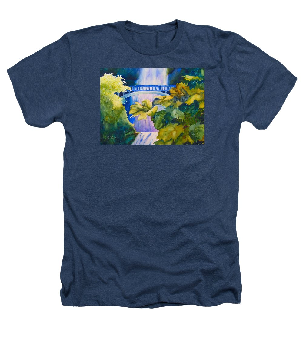 Waterfall Heathers T-Shirt featuring the painting View Of The Bridge by Karen Stark