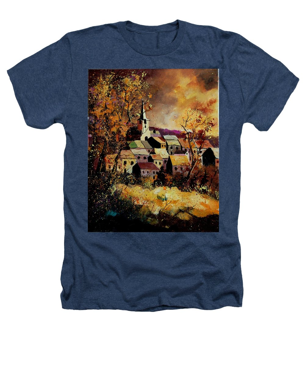 River Heathers T-Shirt featuring the painting Village In Fall by Pol Ledent