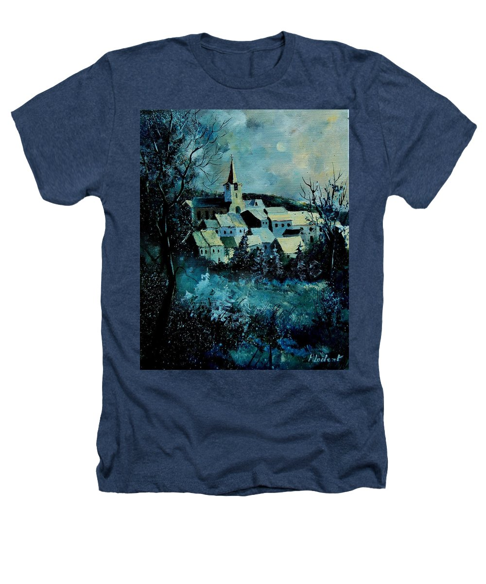 River Heathers T-Shirt featuring the painting Village In Winter by Pol Ledent