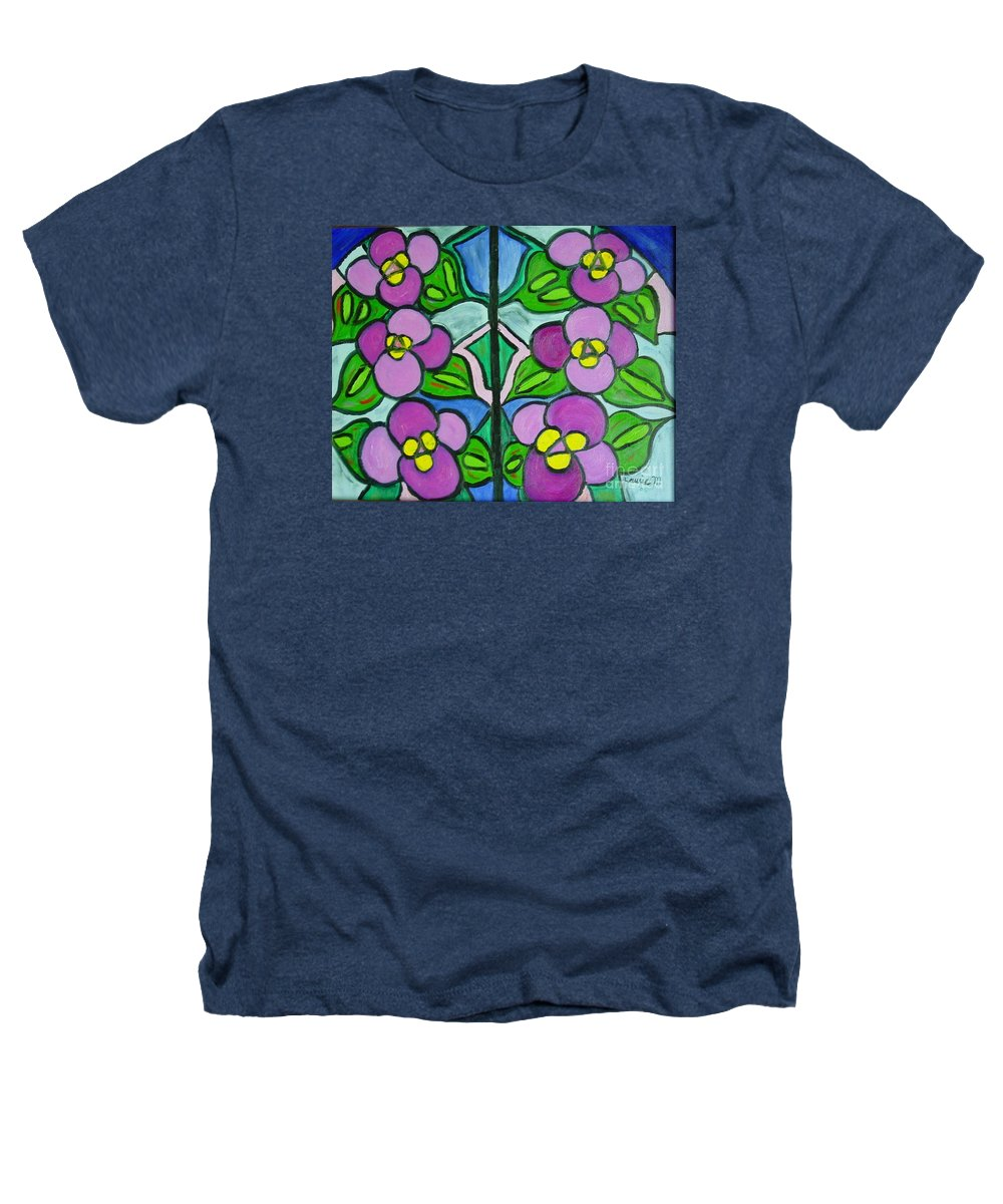 Violets Heathers T-Shirt featuring the painting Vintage Violets by Laurie Morgan