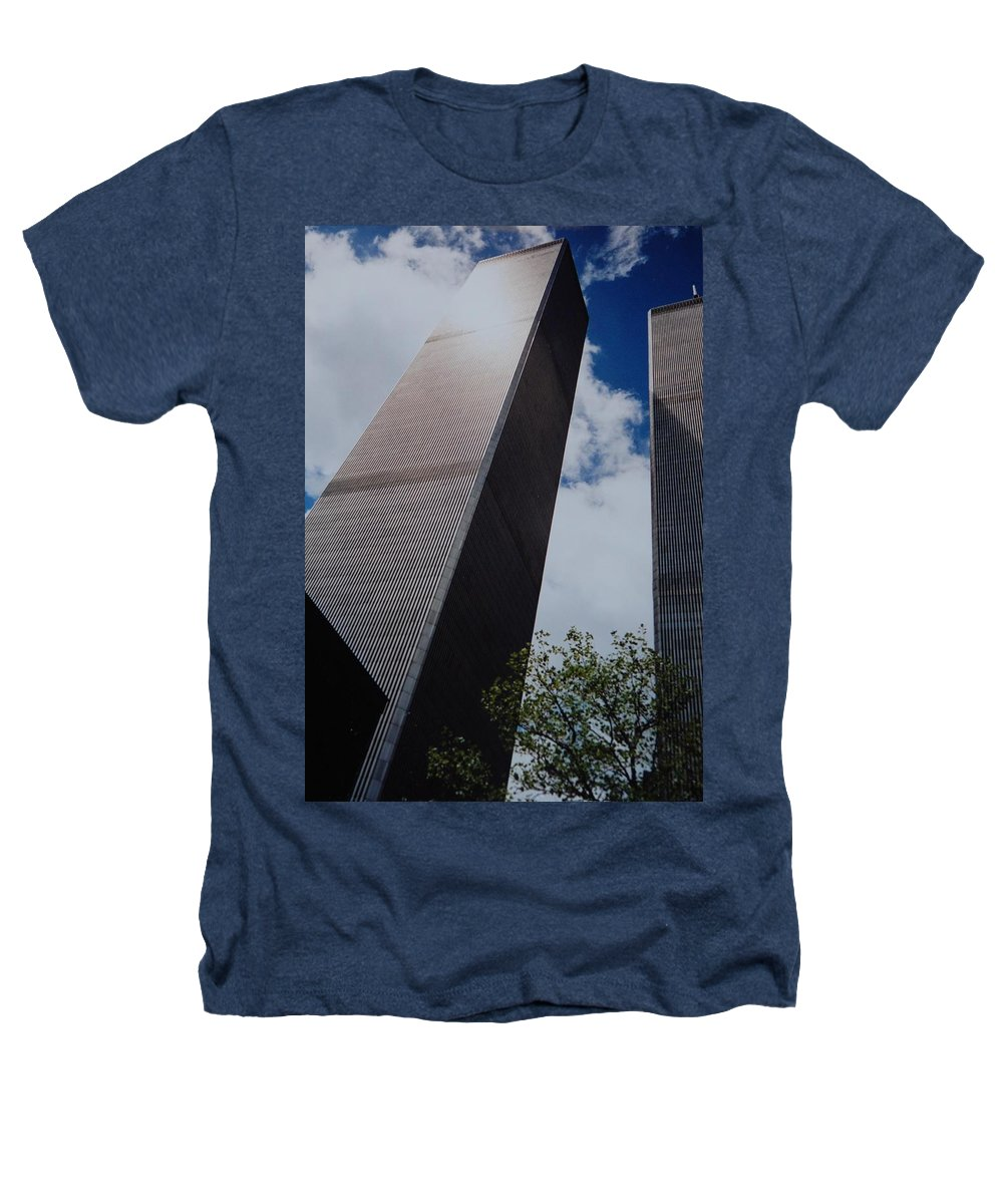 Wtc Heathers T-Shirt featuring the photograph W T C 1 And 2 by Rob Hans