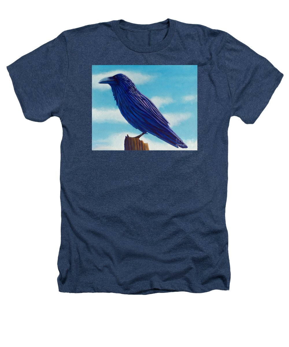Raven Heathers T-Shirt featuring the painting Waiting by Brian Commerford