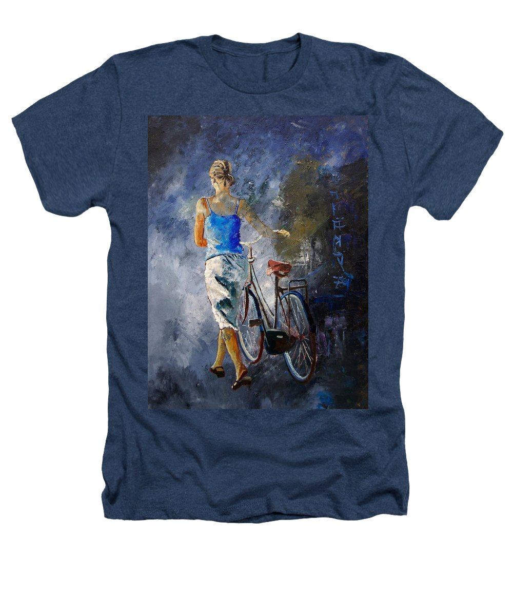 Girl Heathers T-Shirt featuring the painting Waking Aside Her Bike 68 by Pol Ledent