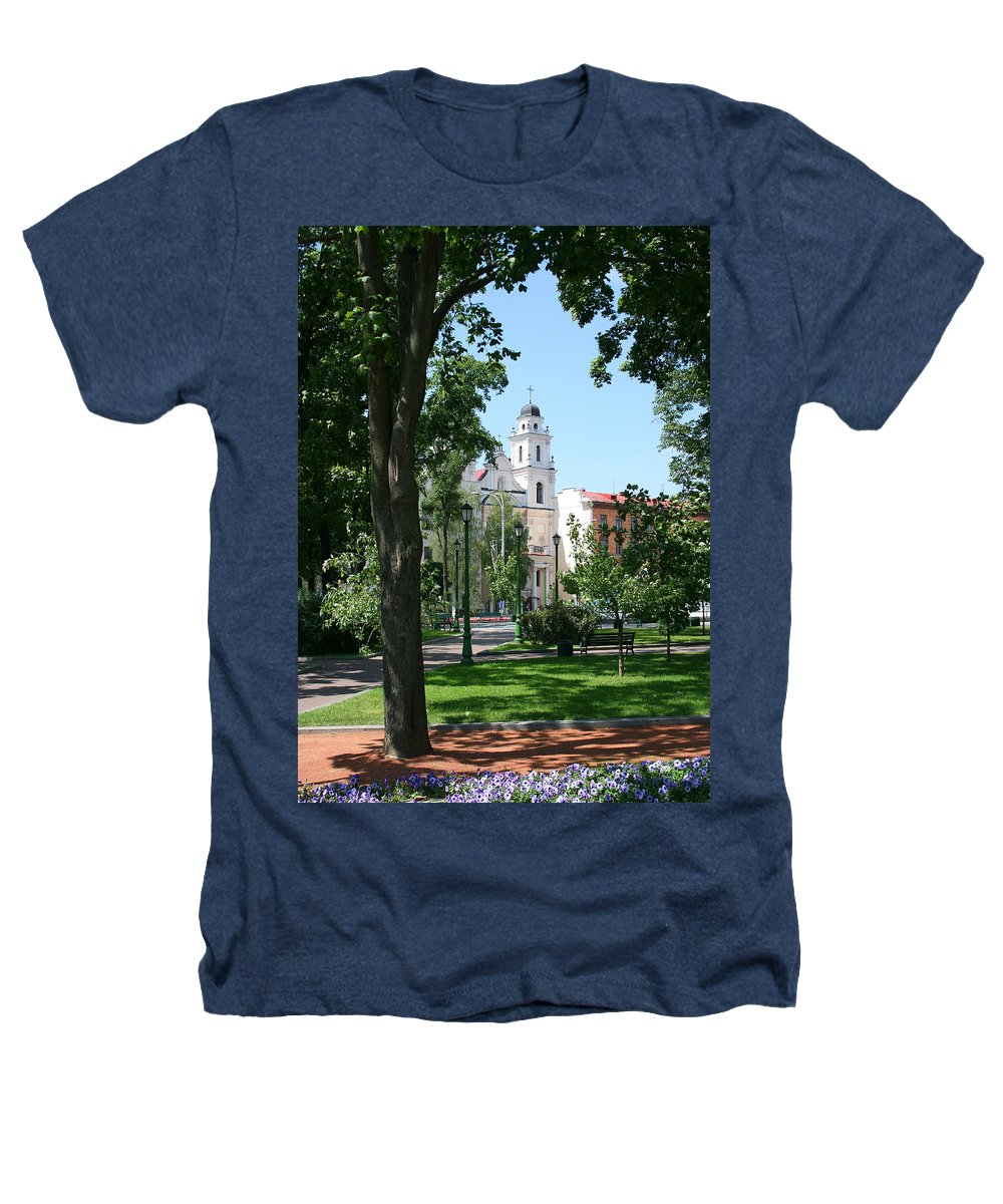 Park City Tree Trees Flowers Church Building Summer Blue Sky Green Walk Bench Heathers T-Shirt featuring the photograph Walk In The Park by Andrei Shliakhau