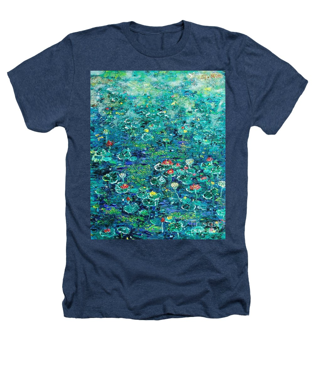 Water Lily Paintings Heathers T-Shirt featuring the painting Water Lilies Lily Pad Lotus Water Lily Paintings by Seon-Jeong Kim