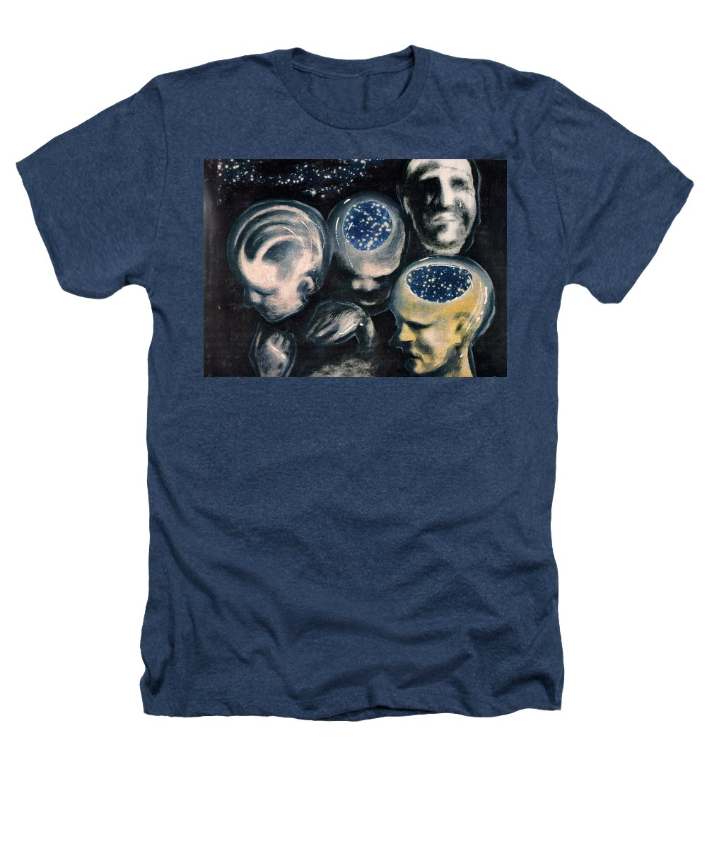 Universe Aura Thoughts Thinking Faces Mistery Heathers T-Shirt featuring the mixed media We Are Universe by Veronica Jackson
