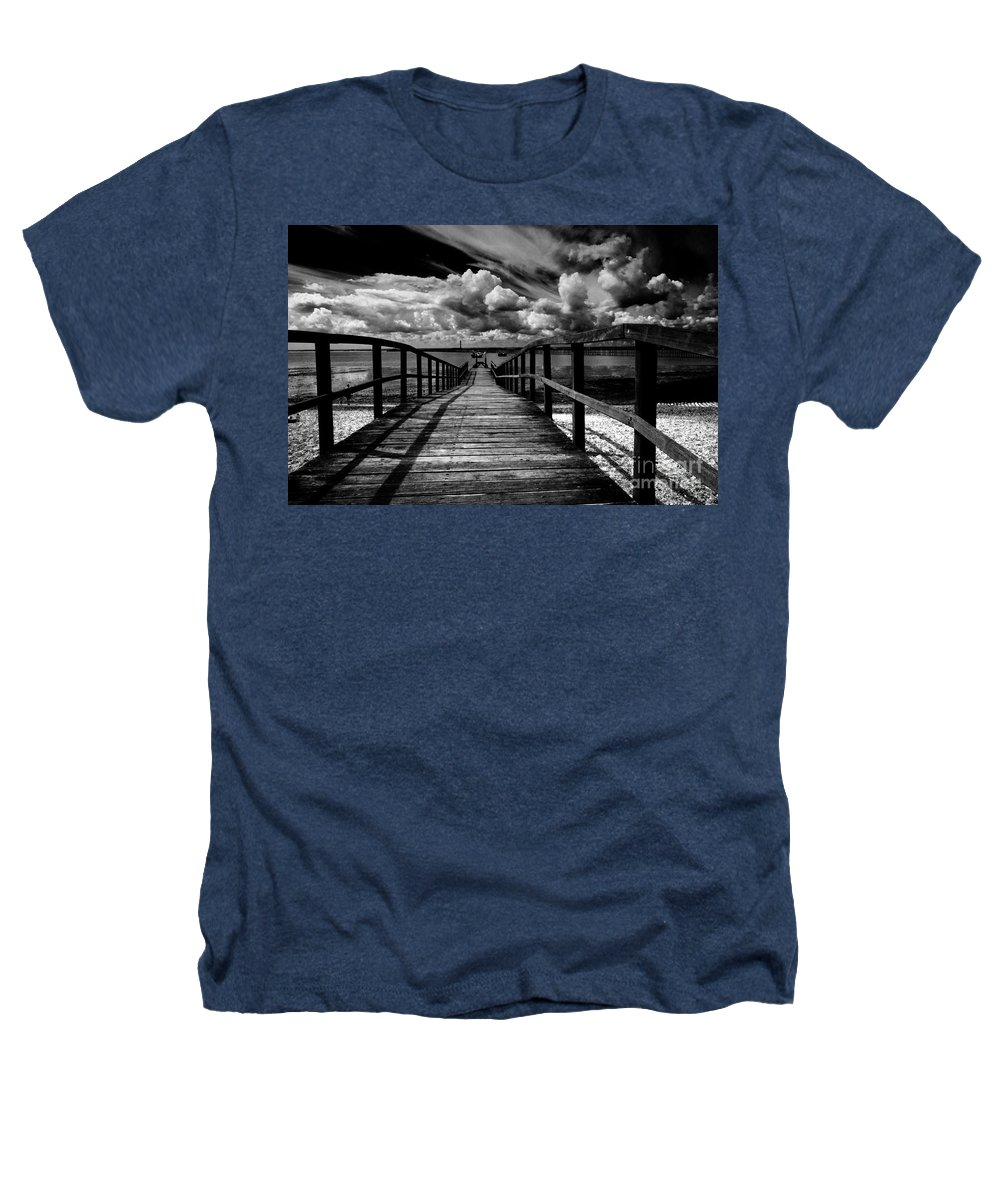 Southend On Sea Wharf Clouds Beach Sand Heathers T-Shirt featuring the photograph Wharf At Southend On Sea by Avalon Fine Art Photography