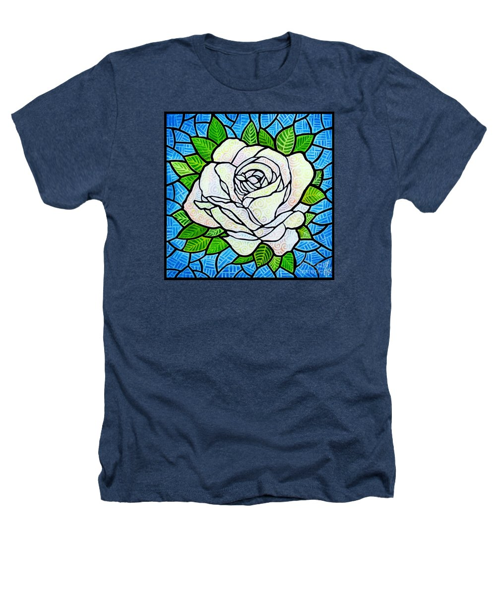 White Heathers T-Shirt featuring the painting White Rose by Jim Harris