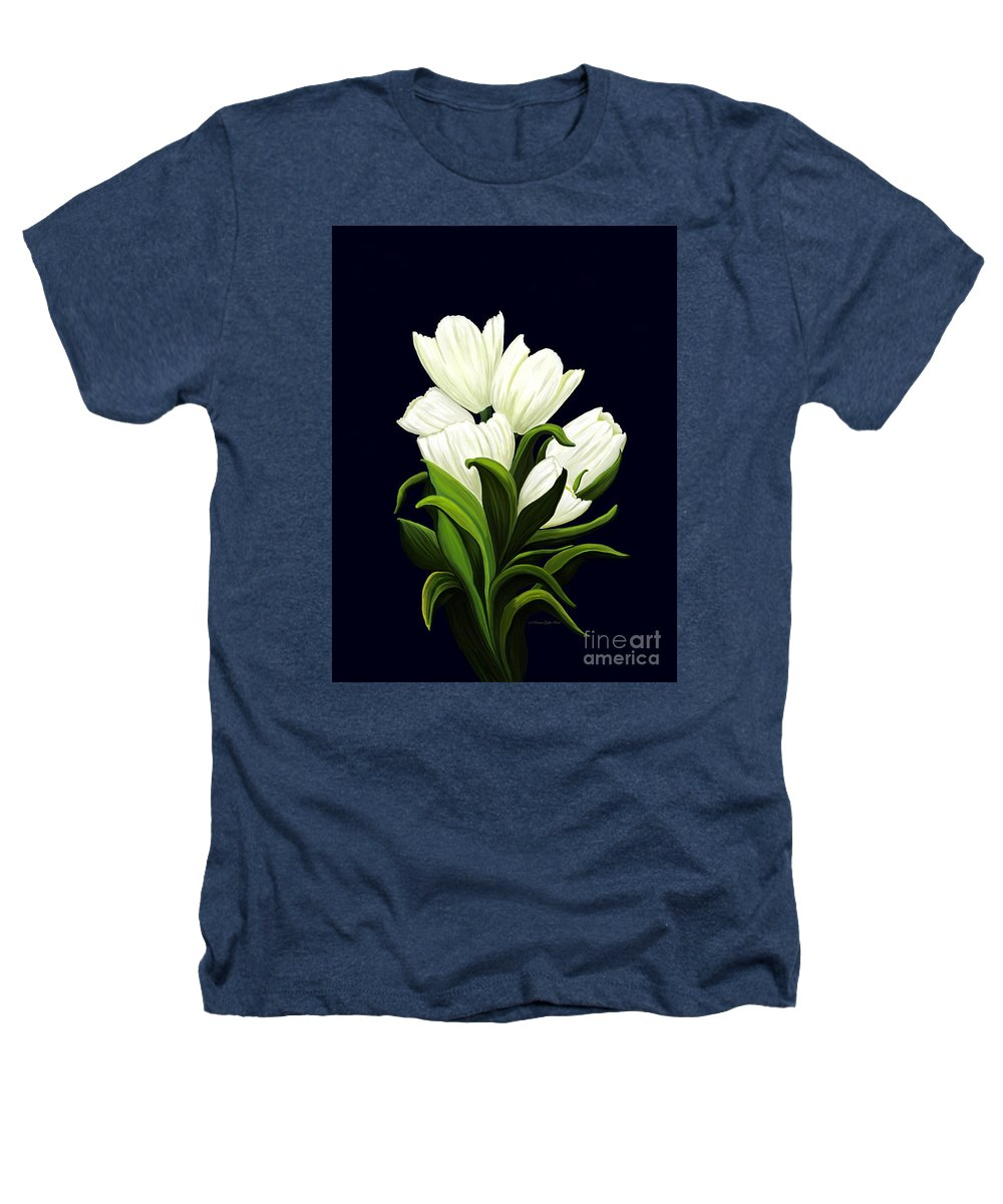 Mixed Media Heathers T-Shirt featuring the painting White Tulips by Patricia Griffin Brett