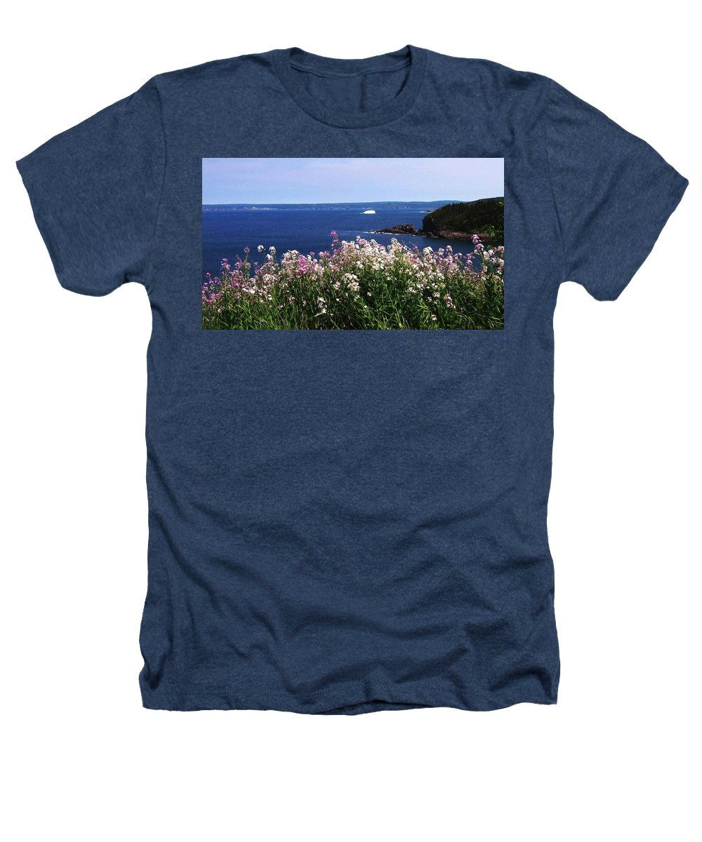 Photograph Iceberg Wild Flower Atlantic Ocean Newfoundland Heathers T-Shirt featuring the photograph Wild Flowers And Iceberg by Seon-Jeong Kim