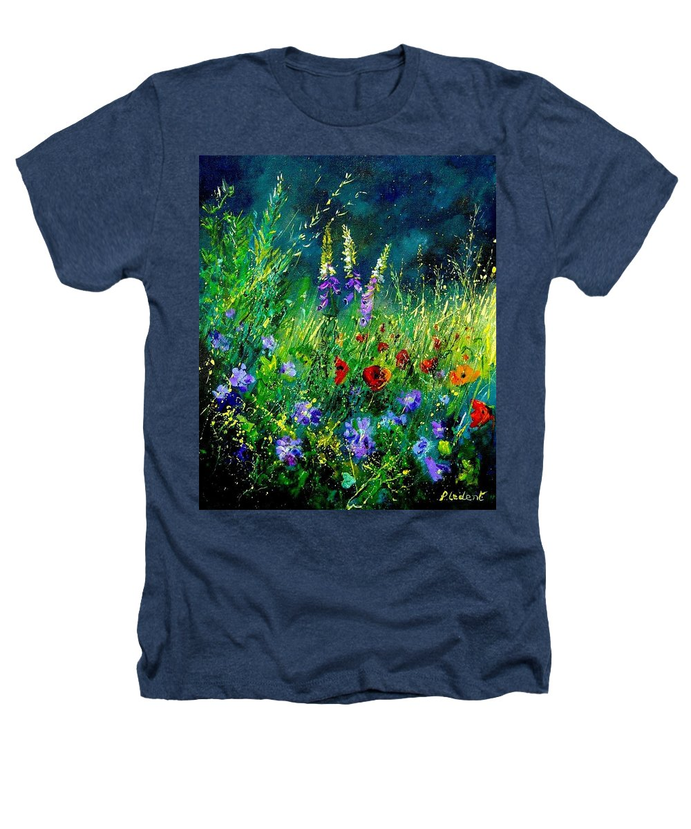 Poppies Heathers T-Shirt featuring the painting Wild Flowers by Pol Ledent