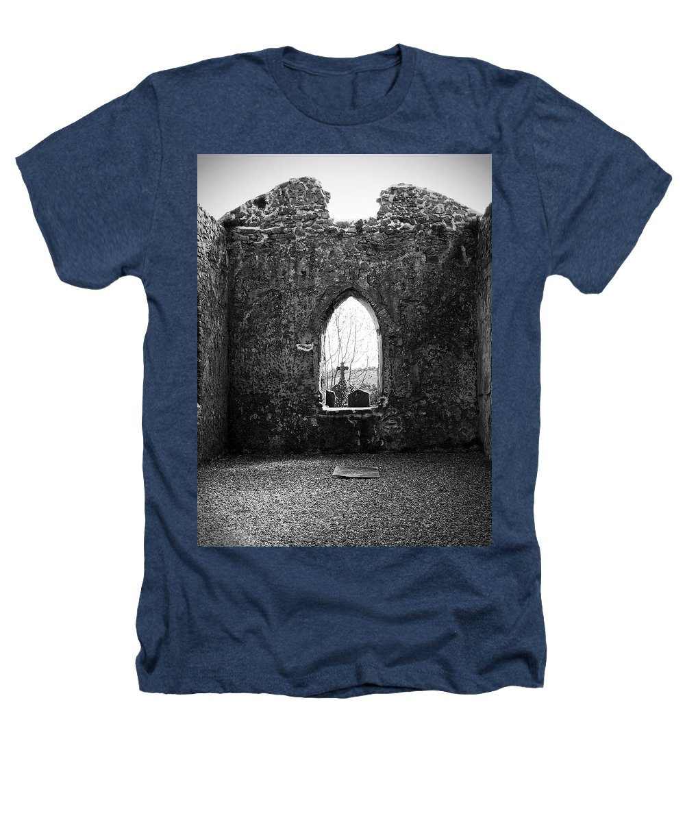 Ireland Heathers T-Shirt featuring the photograph Window At Fuerty Church Roscommon Ireland by Teresa Mucha
