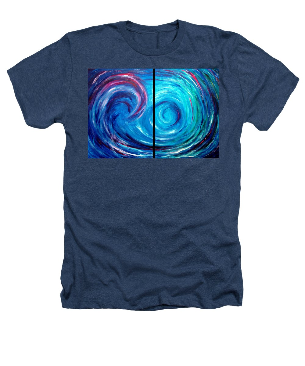 Blue Heathers T-Shirt featuring the painting Windswept Blue Wave And Whirlpool 2 by Nancy Mueller