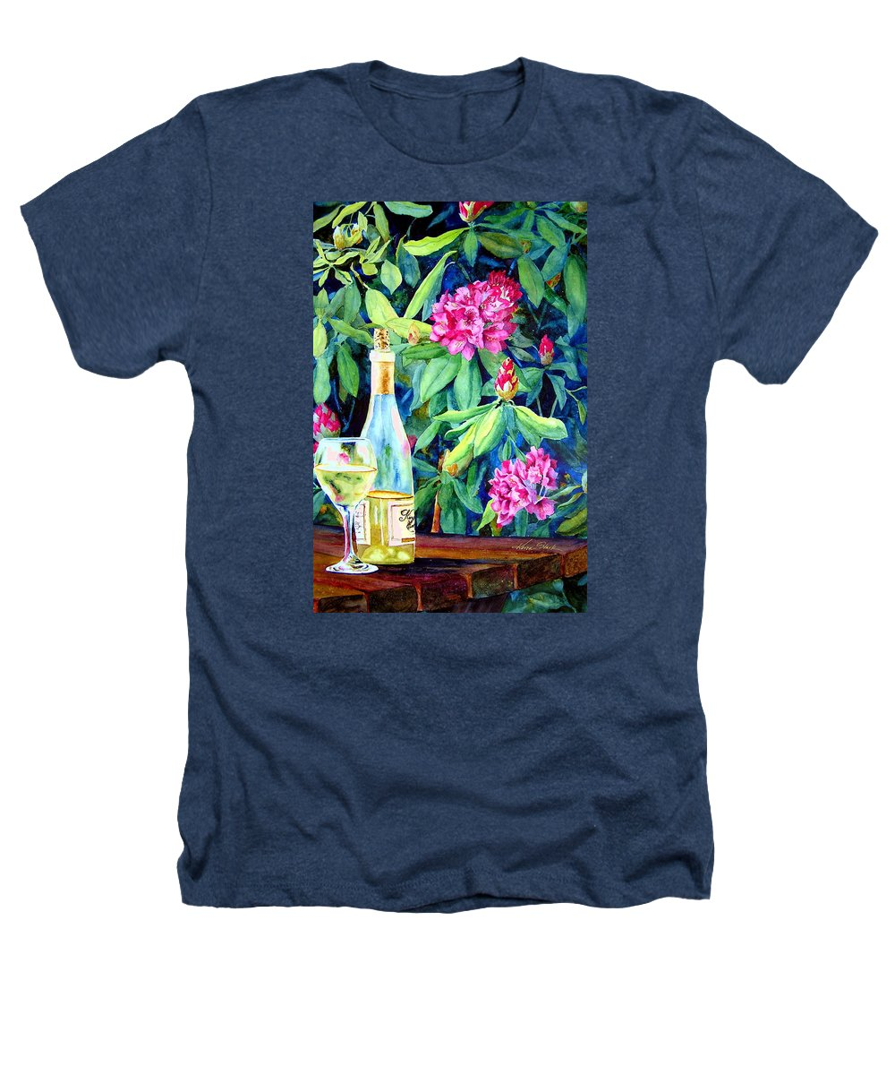 Rhododendron Heathers T-Shirt featuring the painting Wine And Rhodies by Karen Stark