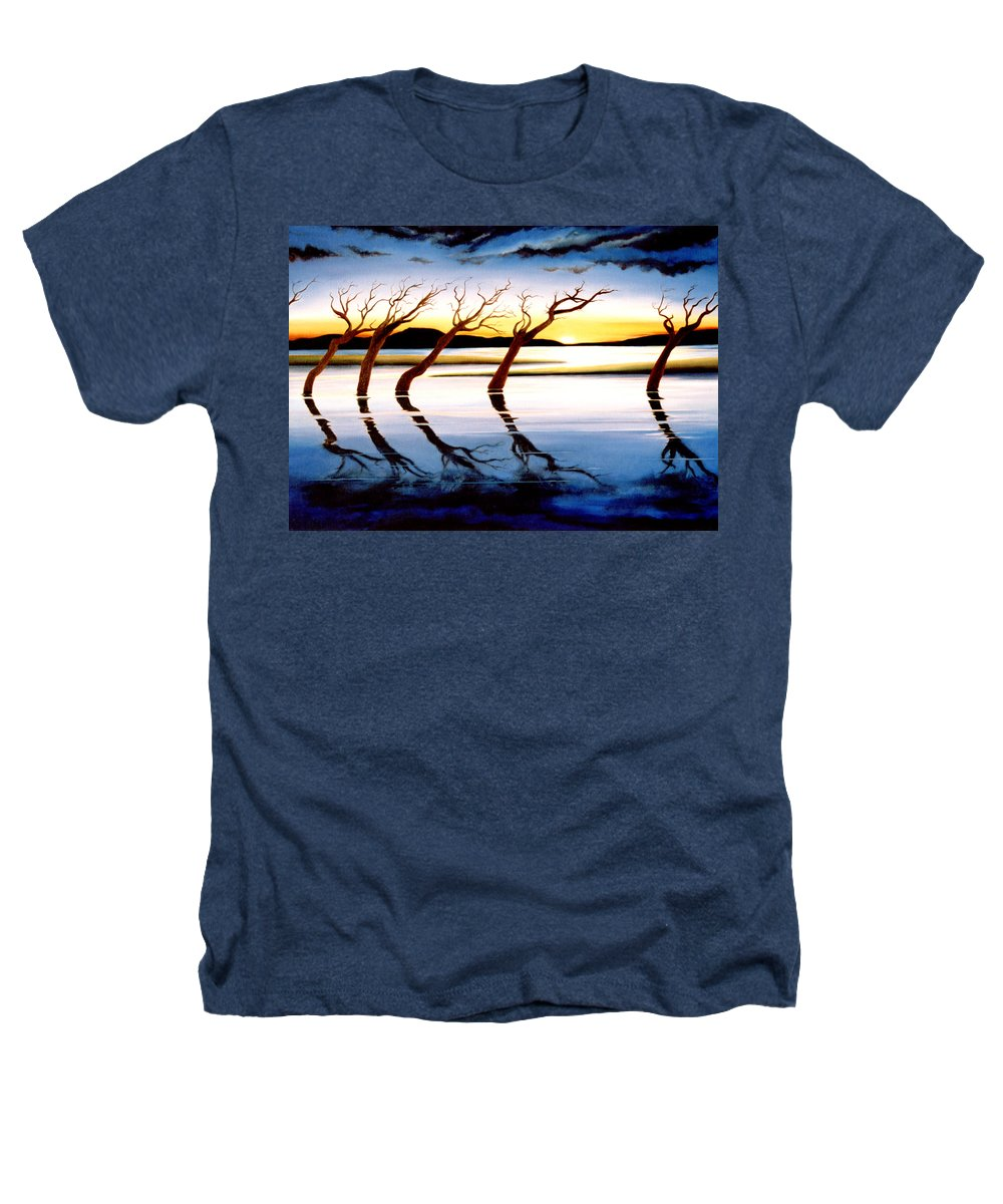 Seascape Heathers T-Shirt featuring the painting Winter Heatwave by Mark Cawood