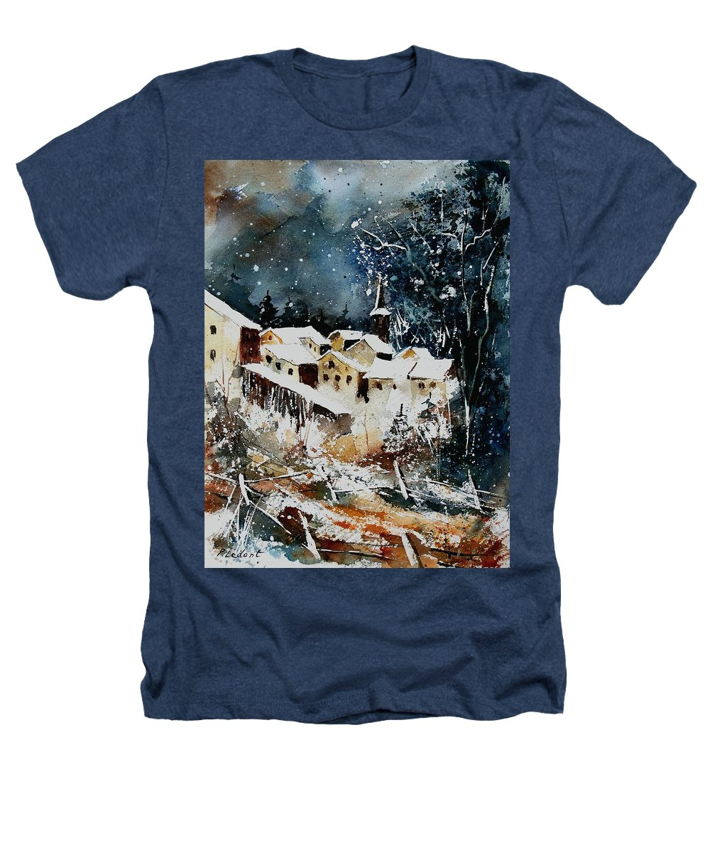 Winter Heathers T-Shirt featuring the painting Winter In Vivy by Pol Ledent