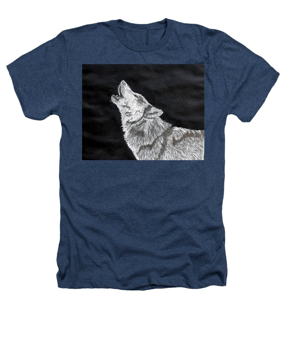 Pencil Heathers T-Shirt featuring the drawing Wolf Howl by Stan Hamilton