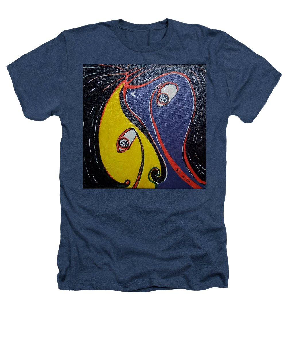 Yellow Paintings Heathers T-Shirt featuring the painting Woman21 by Seon-Jeong Kim