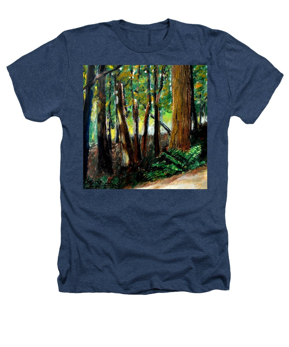Livingston Trail Heathers T-Shirt featuring the drawing Woodland Trail by Michelle Calkins