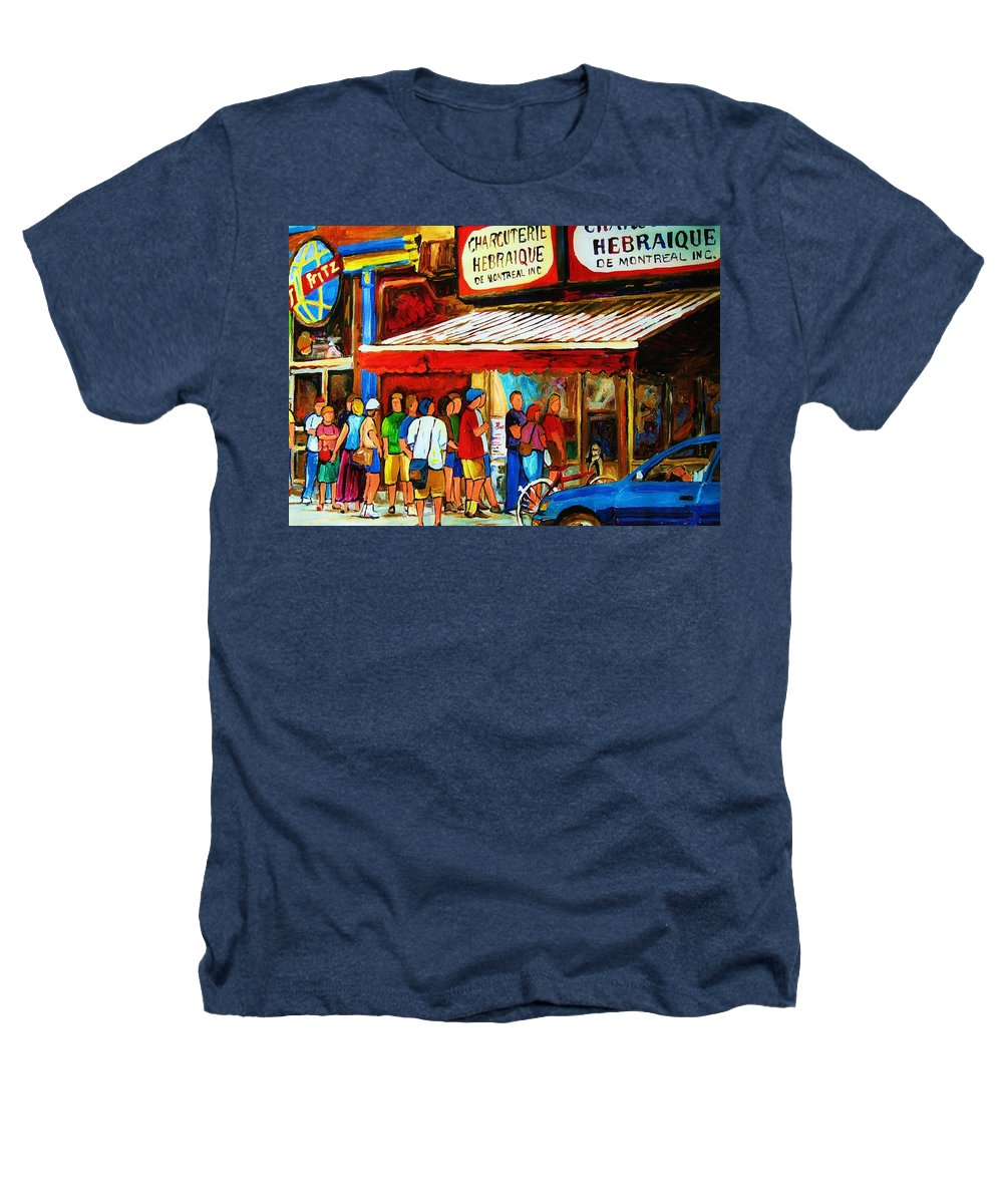 Montreal Streetscenes Heathers T-Shirt featuring the painting Worth The Wait by Carole Spandau