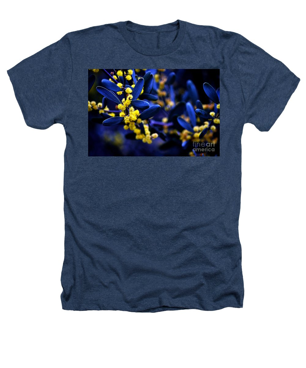 Clay Heathers T-Shirt featuring the photograph Yellow Bursts In Blue Field by Clayton Bruster