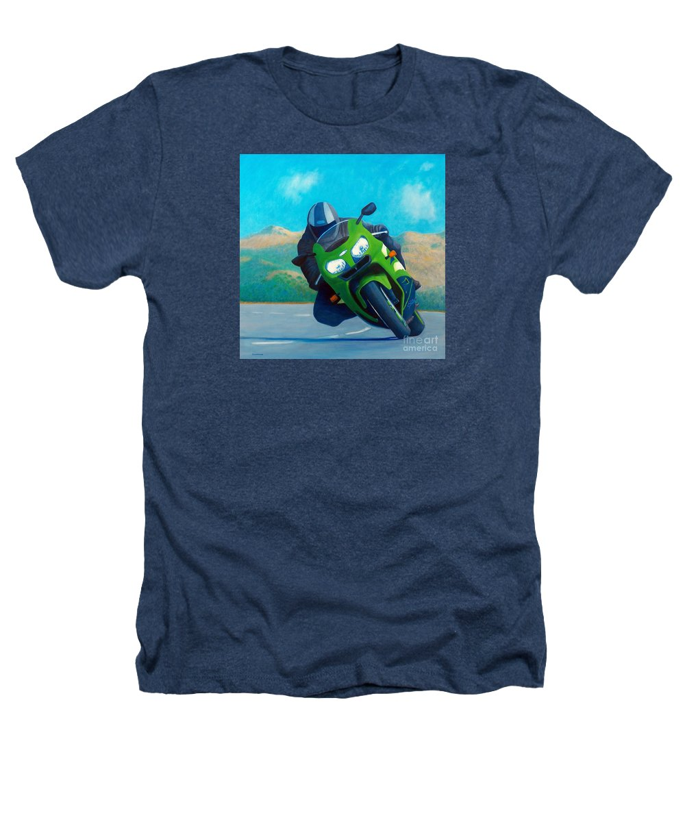 Motorcycle Heathers T-Shirt featuring the painting Zx9 - California Dreaming by Brian Commerford