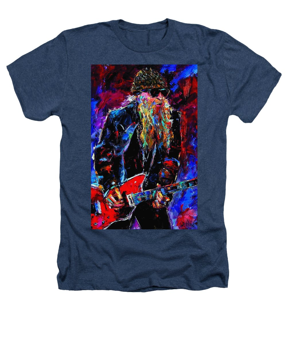 Music Heathers T-Shirt featuring the painting Zz Top Billie Gibbons by Debra Hurd