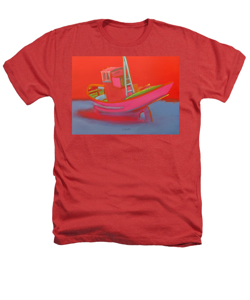Fishing Heathers T-Shirt featuring the painting Abandoned Red Fishing Trawler by Charles Stuart