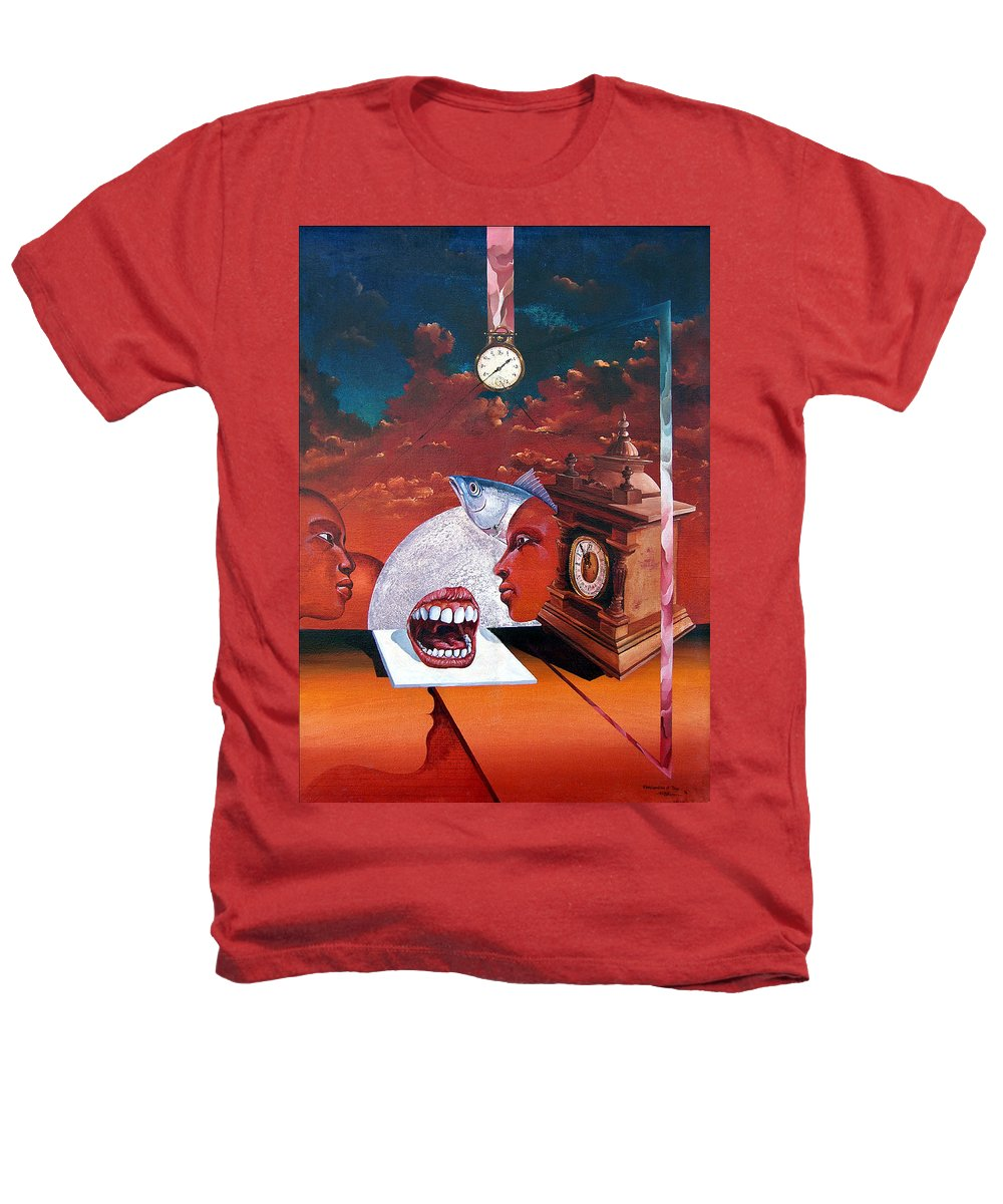 Otto+rapp Surrealism Surreal Fantasy Time Clocks Watch Consumption Heathers T-Shirt featuring the painting Consumption Of Time by Otto Rapp