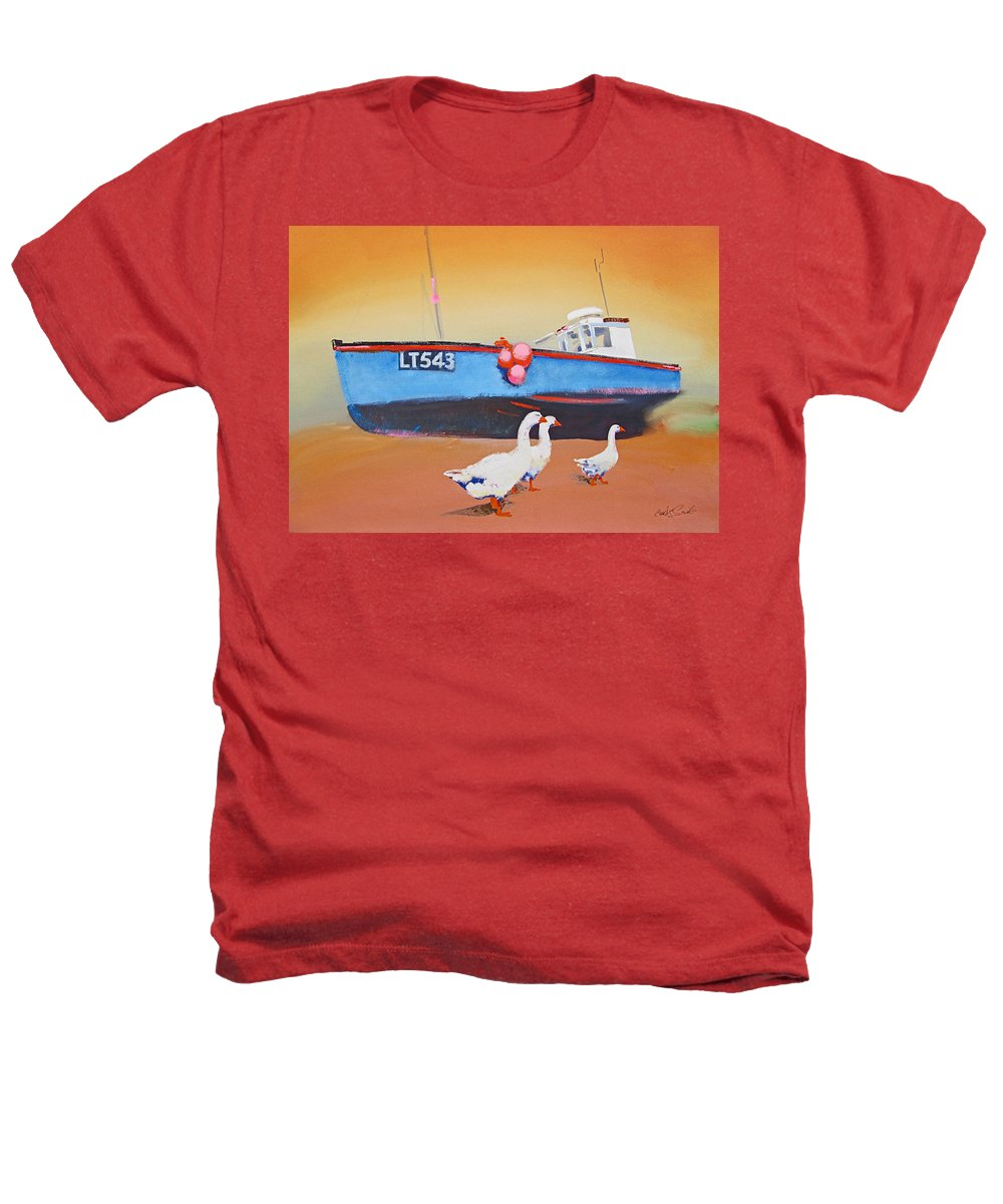 Geese Heathers T-Shirt featuring the painting Fishing Boat Walberswick With Geese by Charles Stuart
