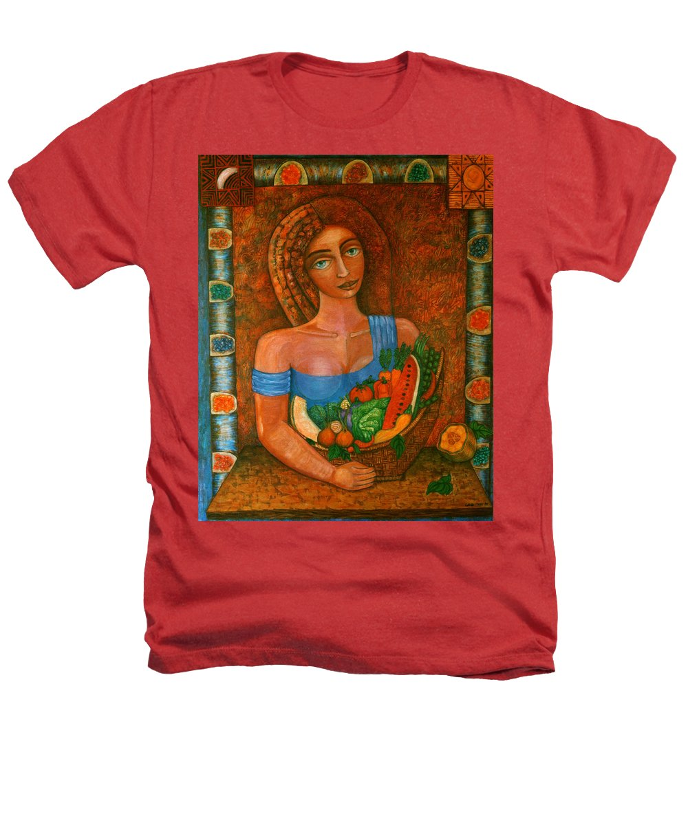 Acrylic Heathers T-Shirt featuring the painting Flora - Goddess Of The Seeds by Madalena Lobao-Tello