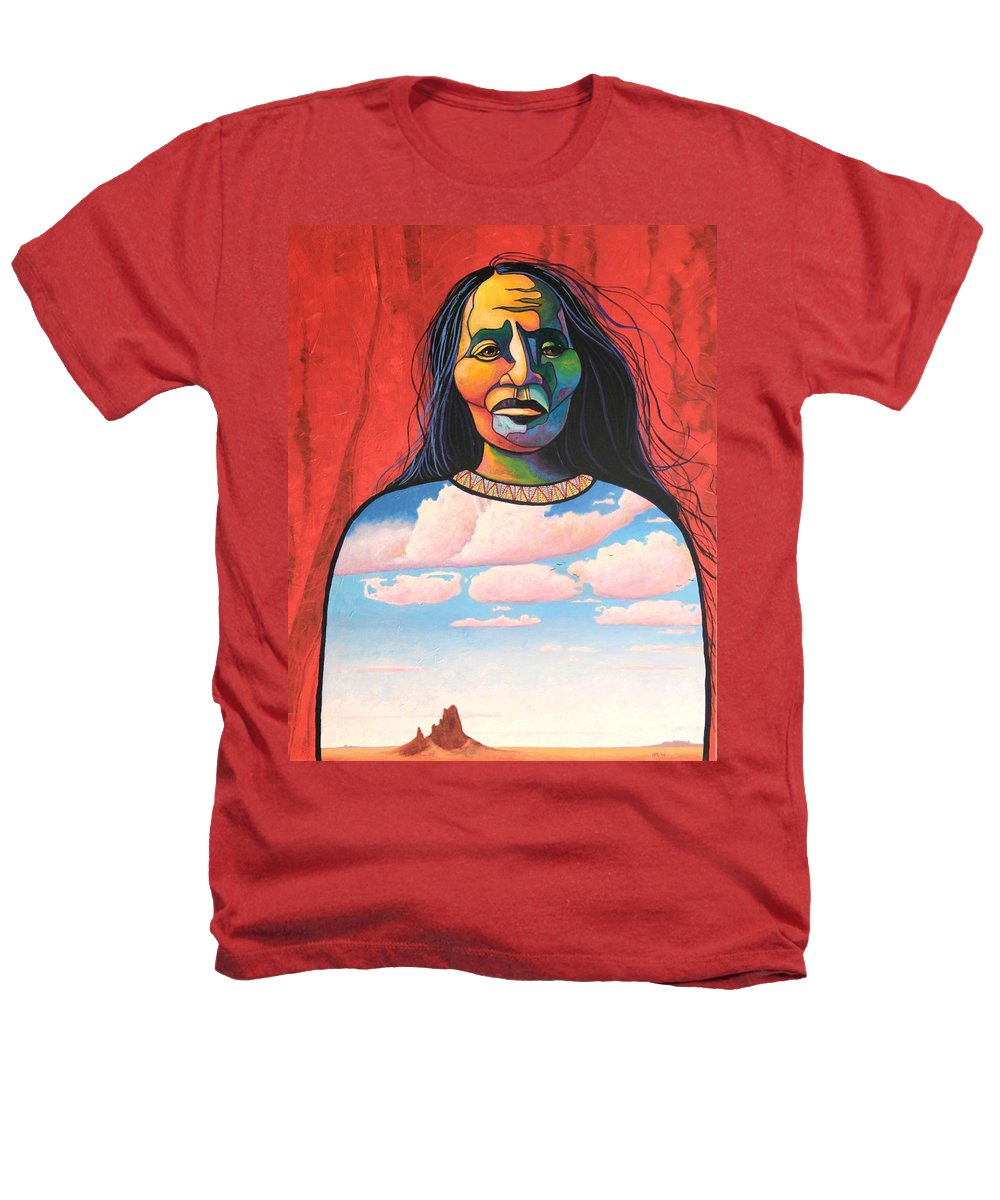 Native American Heathers T-Shirt featuring the painting Into Her Spirit by Joe Triano