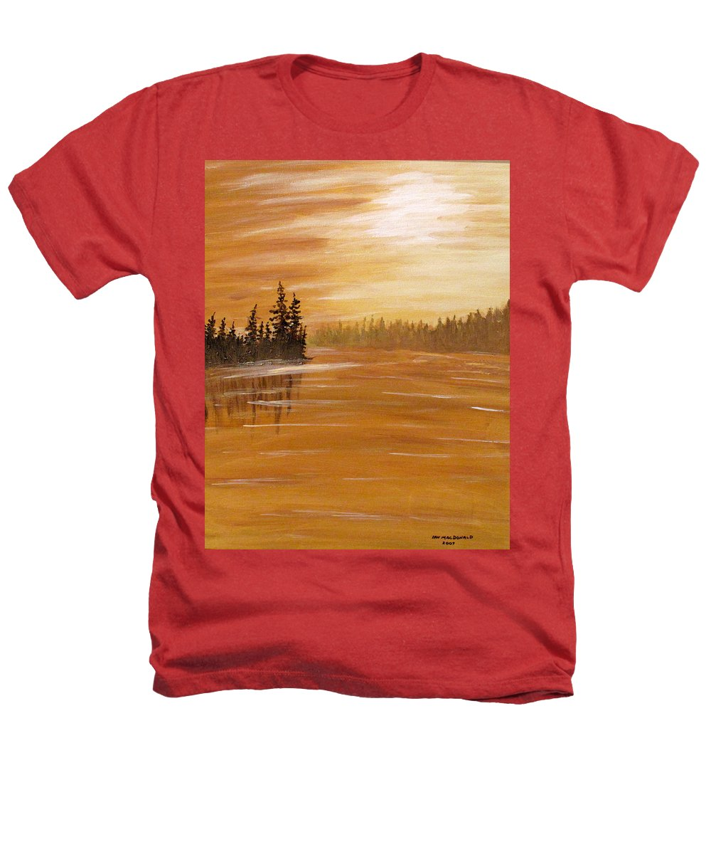 Northern Ontario Heathers T-Shirt featuring the painting Rock Lake Morning 1 by Ian MacDonald