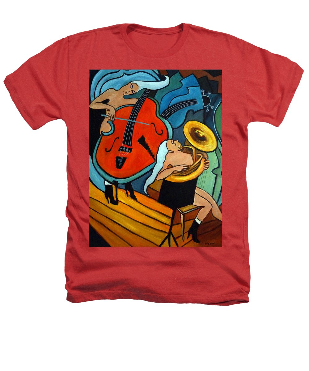 Musician Abstract Heathers T-Shirt featuring the painting The Tuba Player by Valerie Vescovi