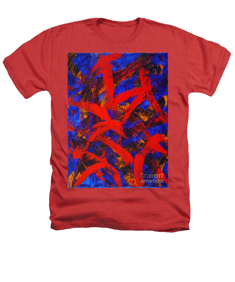 Abstract Heathers T-Shirt featuring the painting Transitions With Blue And Red by Dean Triolo