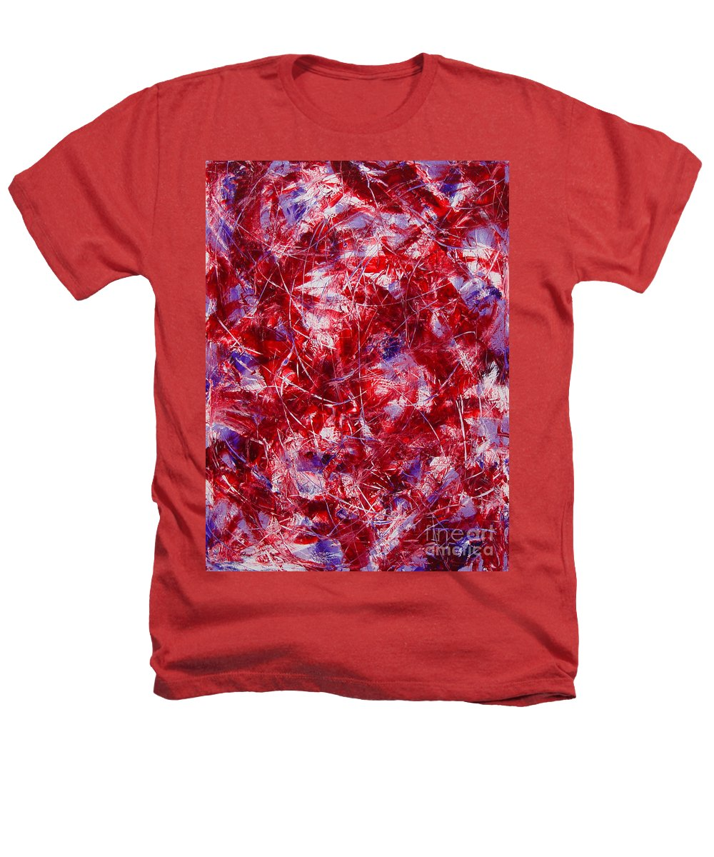Abstract Heathers T-Shirt featuring the painting Transitions With White Red And Violet by Dean Triolo
