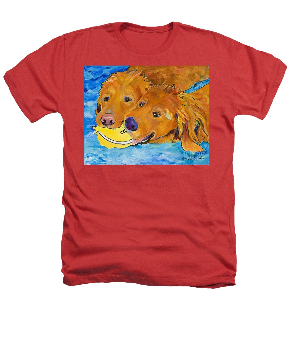 Golden Retriever Heathers T-Shirt featuring the painting Double Your Pleasure by Pat Saunders-White