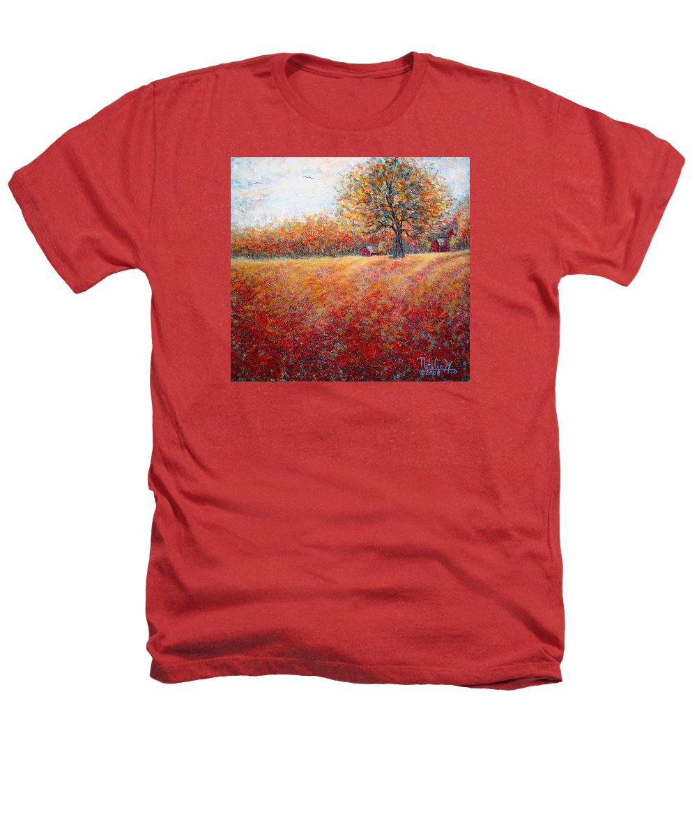 Autumn Landscape Heathers T-Shirt featuring the painting A Beautiful Autumn Day by Natalie Holland