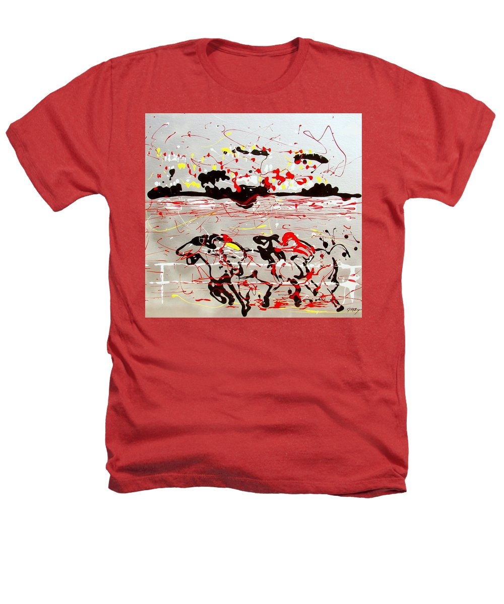 Horses Heathers T-Shirt featuring the mixed media And Down The Stretch They Come by J R Seymour