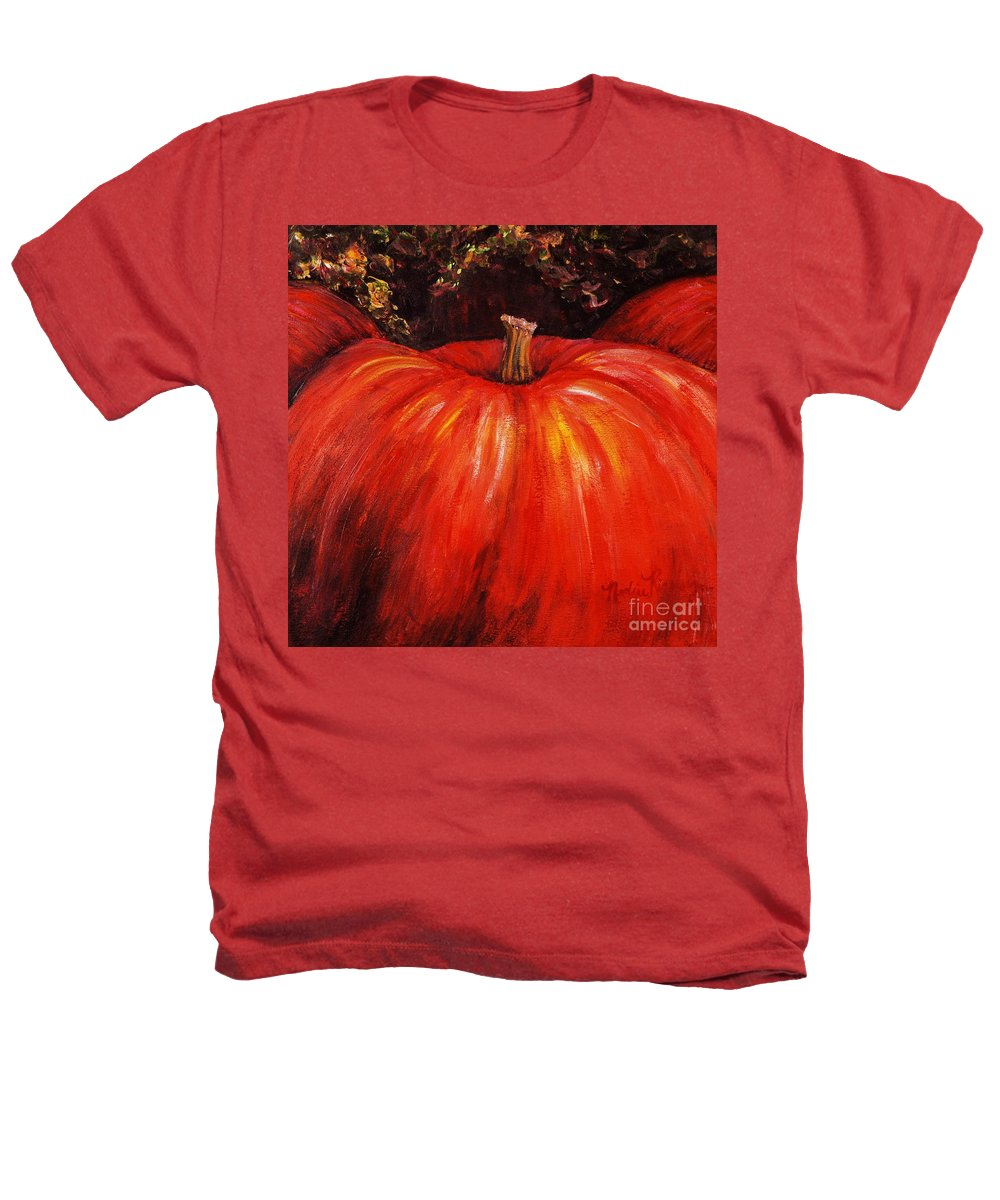 Orange Heathers T-Shirt featuring the painting Autumn Pumpkins by Nadine Rippelmeyer