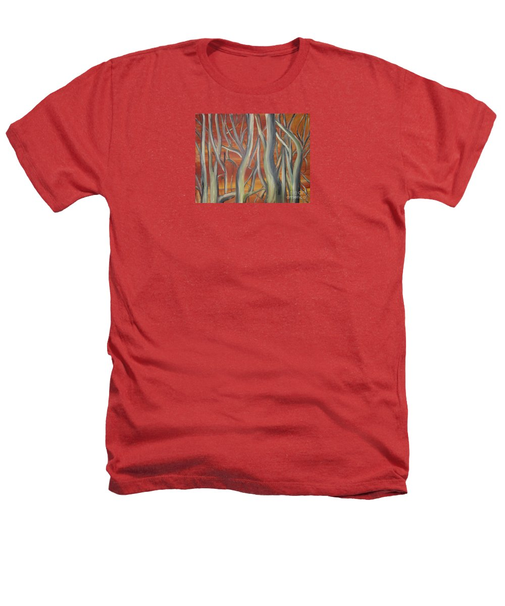 Trees Forest Original Painting Abstract Heathers T-Shirt featuring the painting Beyond by Leila Atkinson