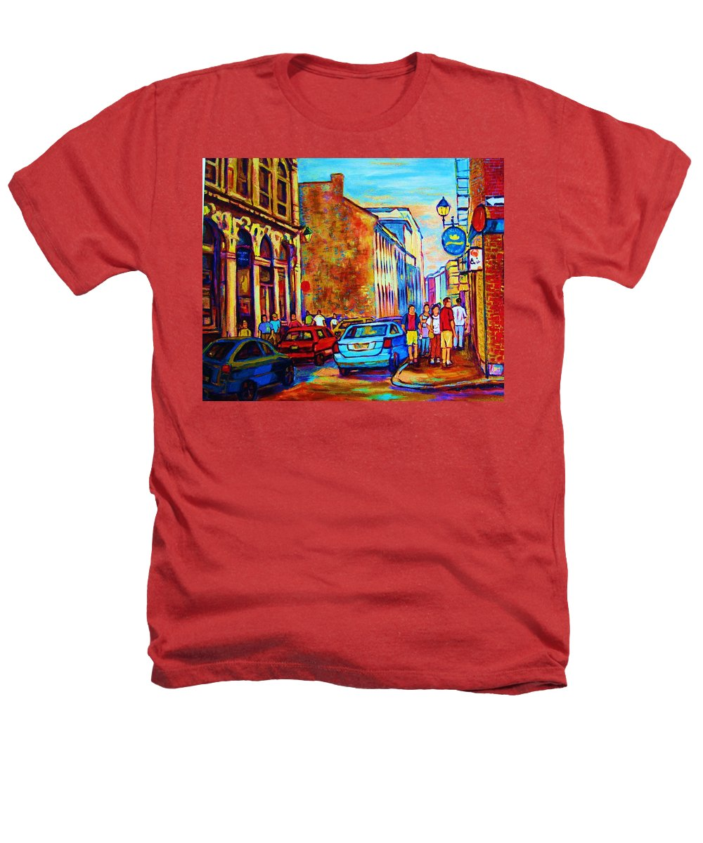 Montreal Heathers T-Shirt featuring the painting Blue Cars At The Resto Bar by Carole Spandau